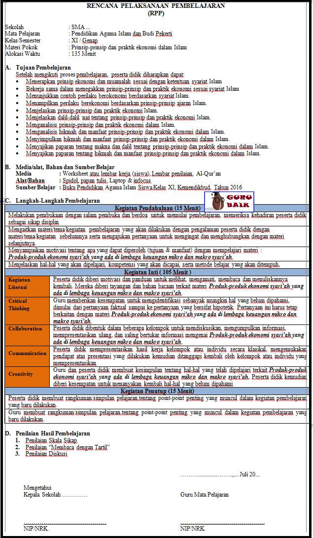 gambar contoh RPP 1 lembar PAI BP SMA revisi 2020