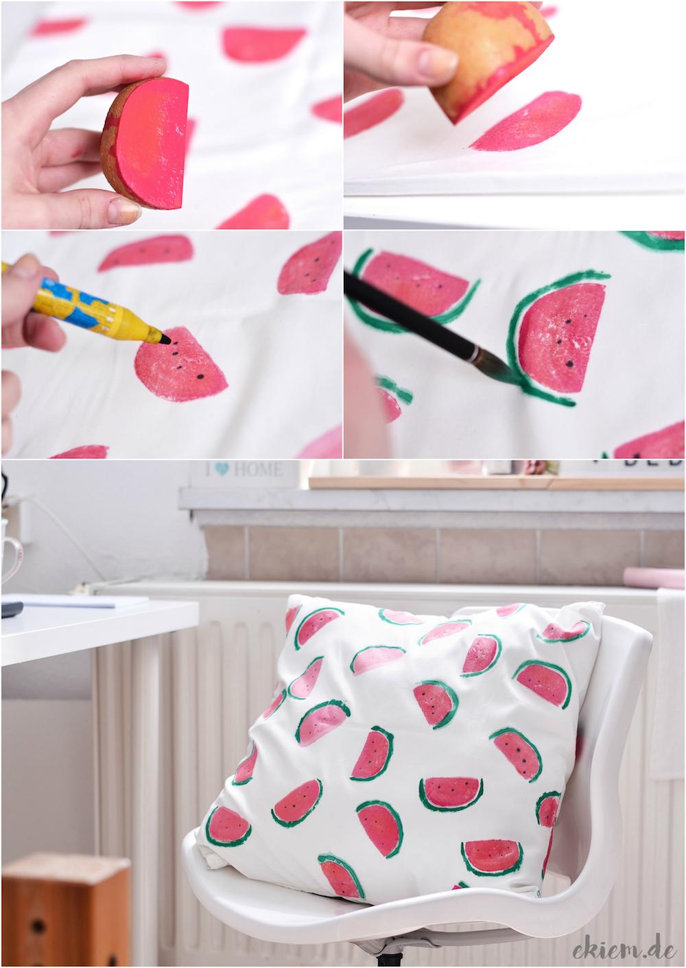 ekiem diy melonen kissen mit kartoffeldruck. Black Bedroom Furniture Sets. Home Design Ideas