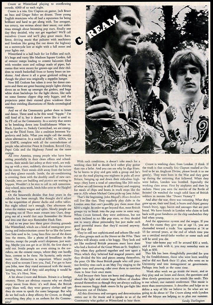 Cream Article Billboard Magazine 1968
