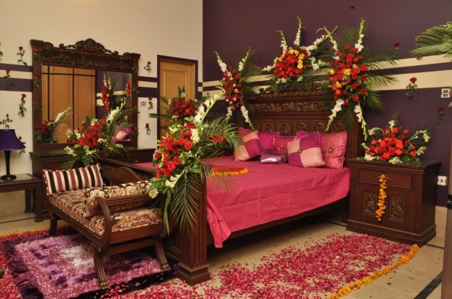 First Night Honeymoon Bed Decoration With Flowers And Balloons