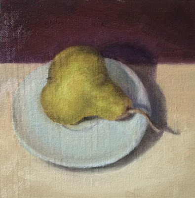 oil painting, pear, Gabrielle Sivitz