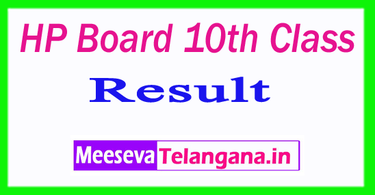 HP Board 10th Class Result 2019