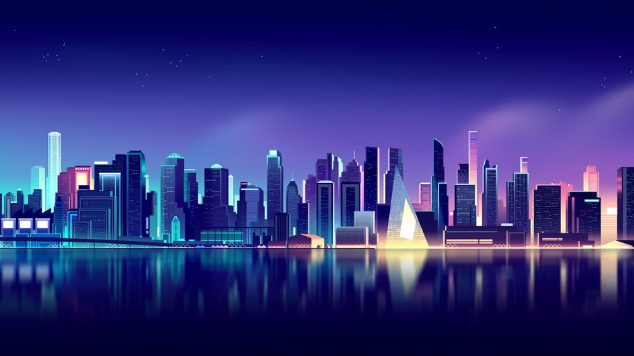 Neon, City, Skyline, Cityscape, Digital Art, Landscape, 4K, #6.1052