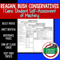 American History I Cans, Student Self-Assessment of Mastery, Reagan, Bush, Conservatives