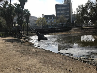 La Brea Tar Pits with elephant