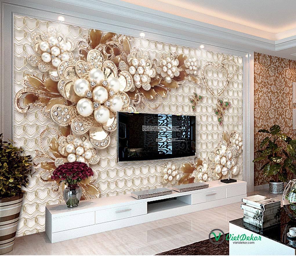 Tranh dán tường 3d hoa ngọc trai trang sức trang trí