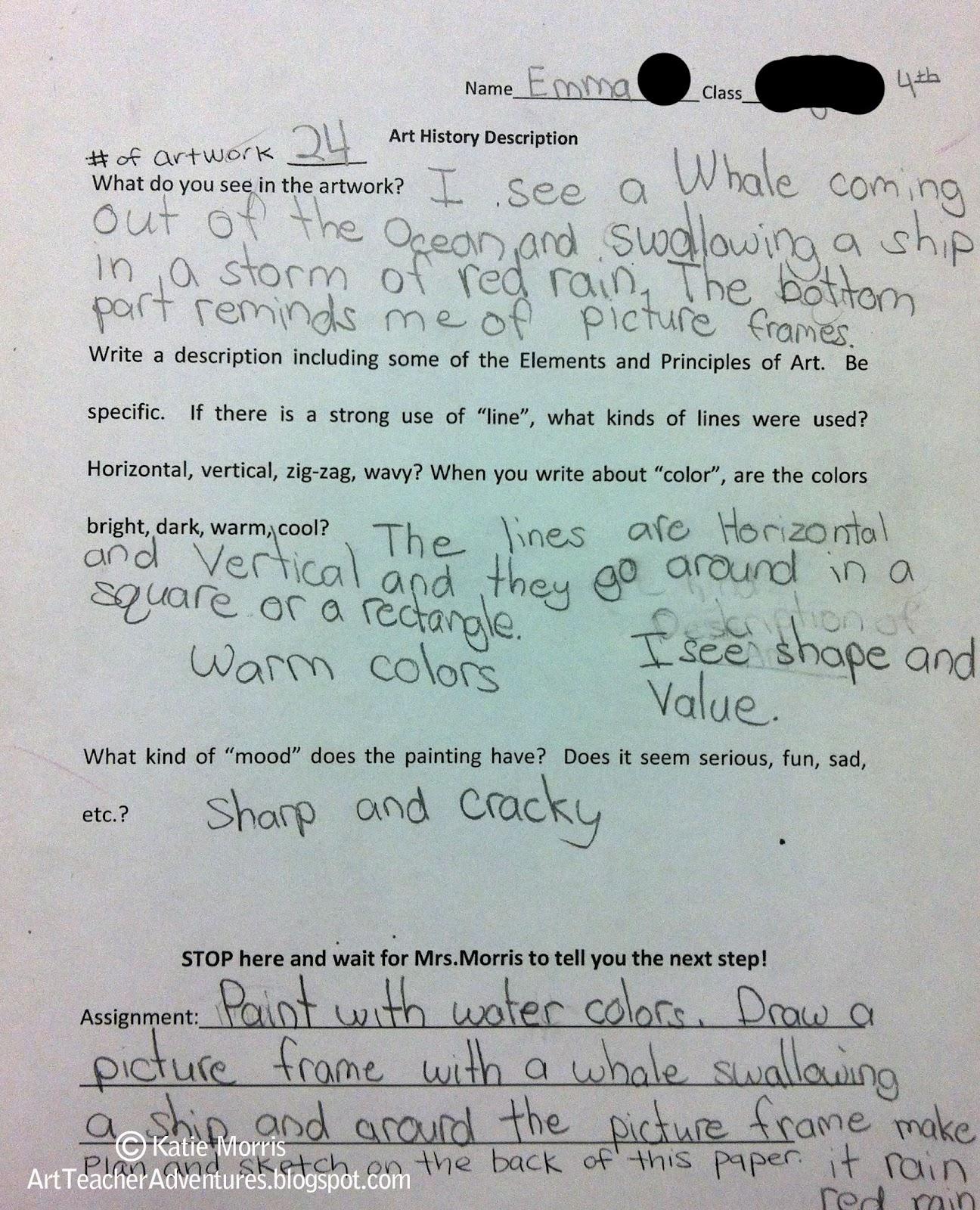 Adventures Of An Art Teacher 4th Grade Description Projects