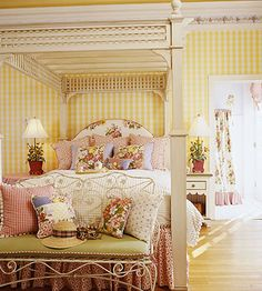 Inspiration: Gingham is for Summer, yellow, gingham, wallpaper