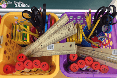 Photo of student supply baskets