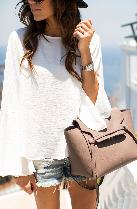 Hello Fashion - Bell Sleeve Top, Denim Cut Offs, Celine Belt Bag