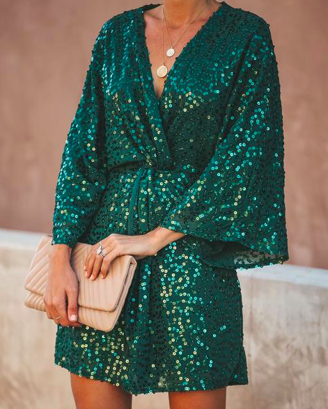 green sequin kimono mini dress