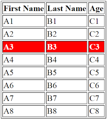 Set Background Color To Selected Table Row