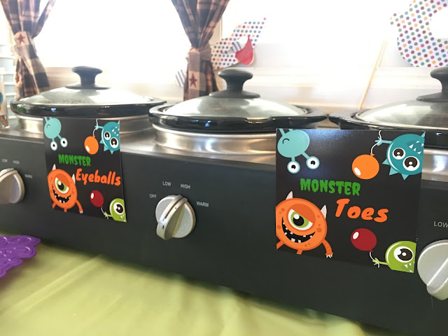 crock pot, monster toes, monster eyeballs
