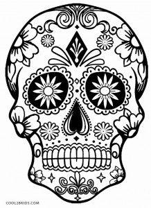 Dibujo Sugar Skull Calaveras De Halloween Para Colorear