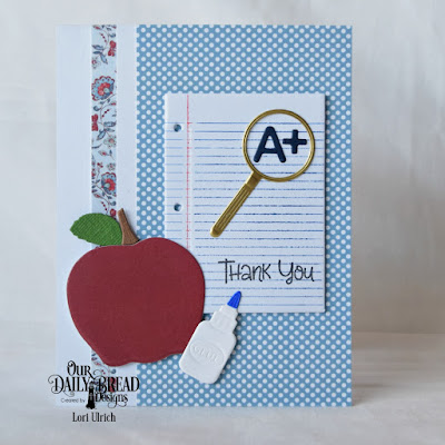 Our Daily Bread Designs Stamp Set: Seeds of Knowledge, Custom Dies: A+ Apples, Clipboard Set, Stamp/Die Duos: Notebook Paper, Paper Collections: Americana Quilt, Old Glory