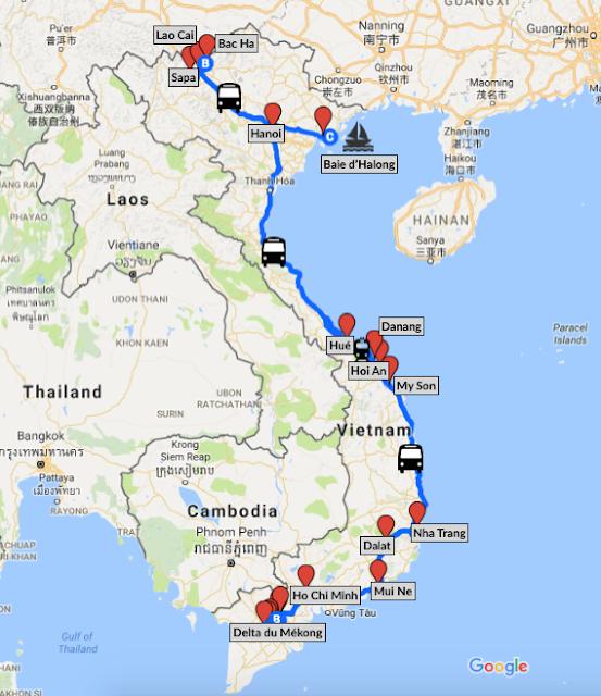 Itinéraire d'un roadtrip d'un mois au Vietnam