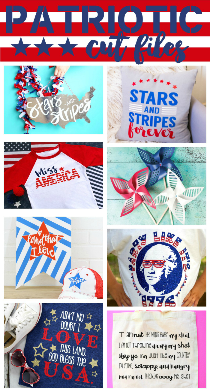 Check out these eight FREE patriotic cut files to use with your Silhouette or Cricut! pitterandglink.com