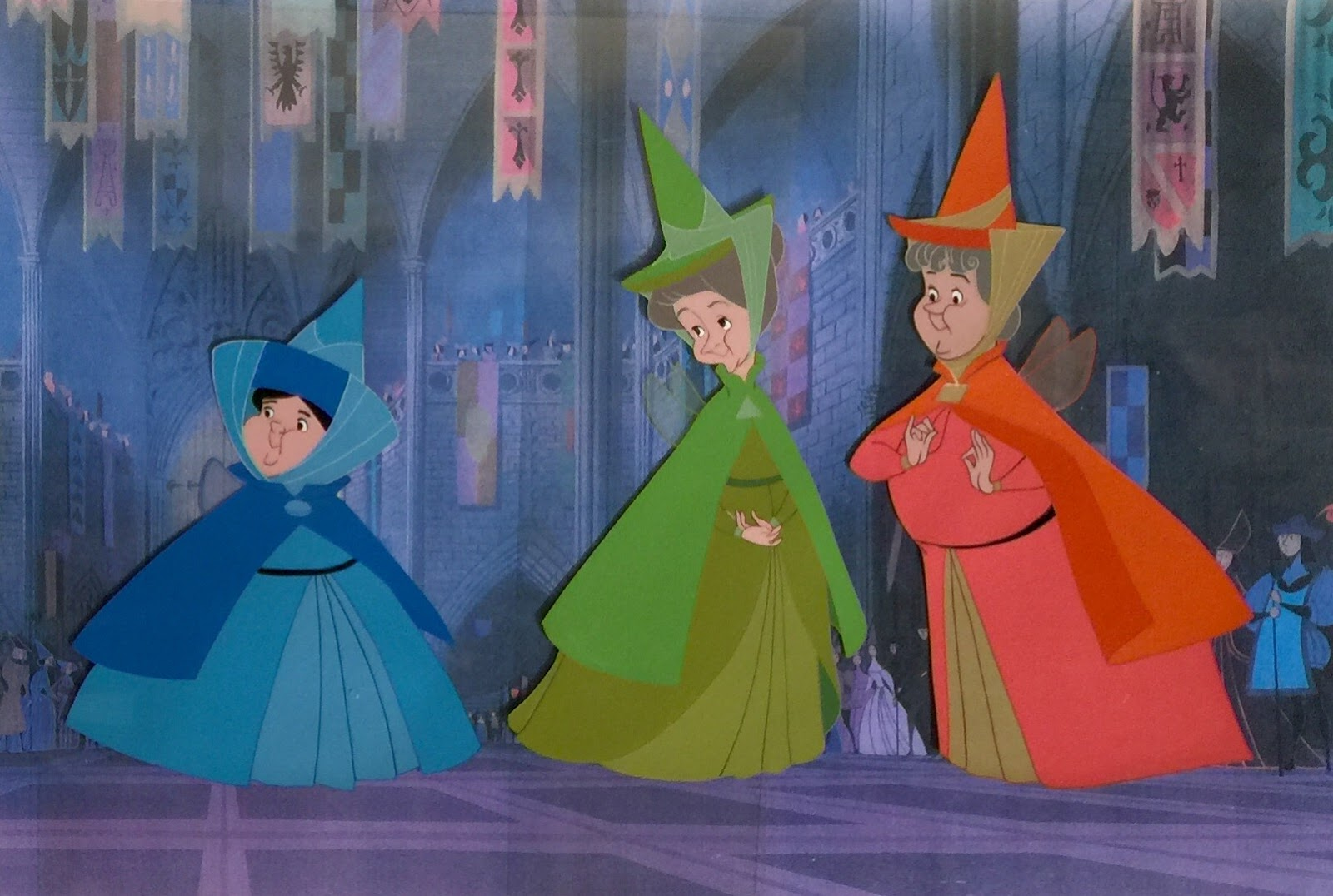 Uncategorized Flora Fauna And Merryweather animation collection original production cels of flora fauna and merryweather from sleeping beauty 1959