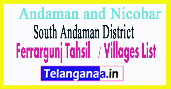 Ferrargunj Tahsil Villages Codes South Andaman District Andaman and Nicobar Islands State