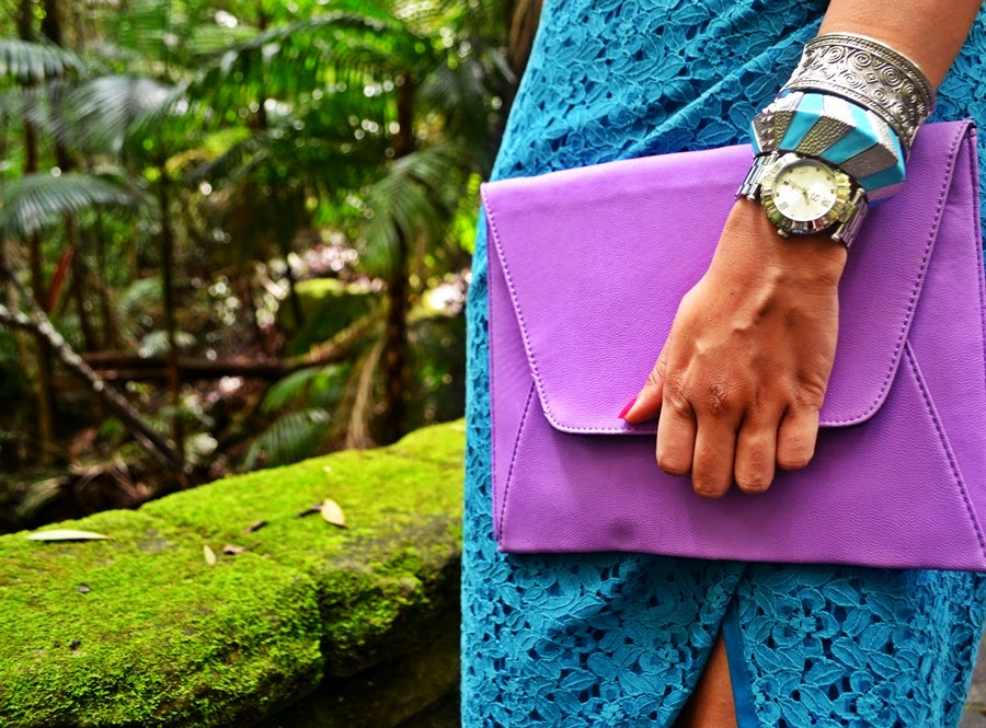 lace dress, purple clutch, envelope clutch, stacked bracelets