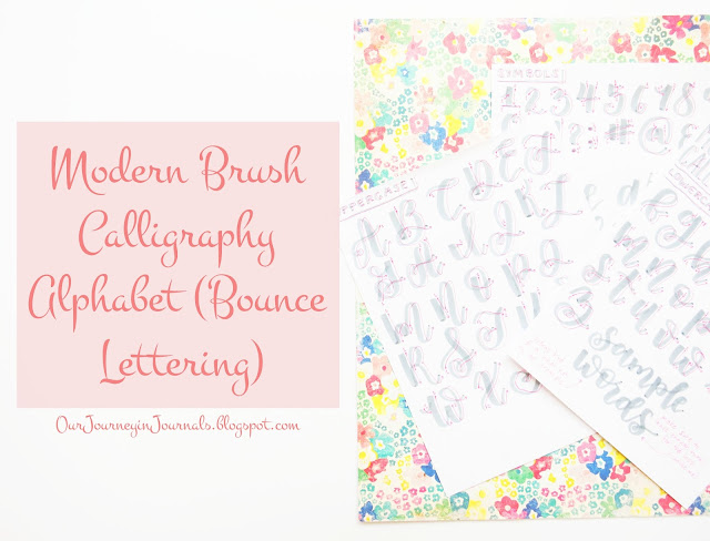 modern brush calligraphy alphabet - bounce lettering
