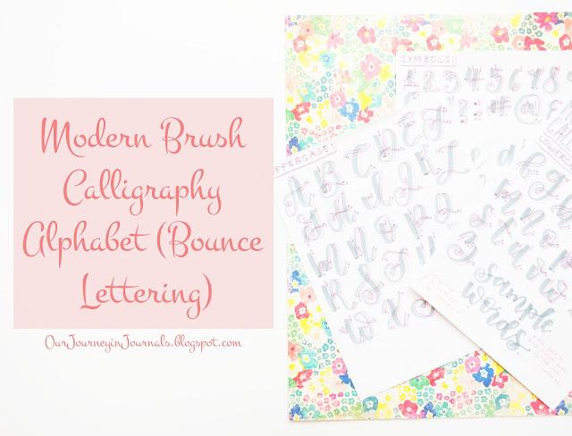 modern brush calligraphy alphabet - bounce lettering