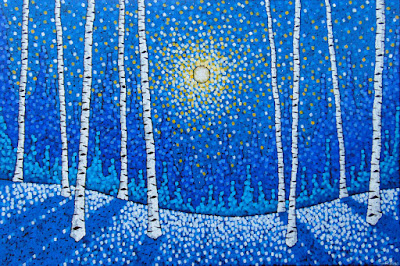 welcome to winter painting by duluth artist aaron kloss, painting of winter birches, painting of moonlight, painting of winter landscape, pointillism, lizzards gallery artist