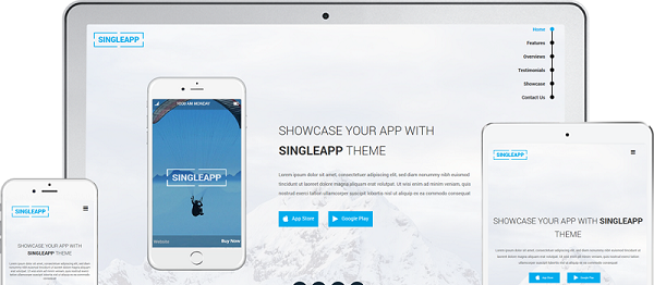 SingleApp Single Page WordPress Theme