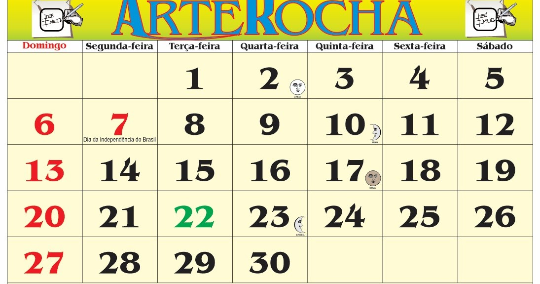 ARTEROCHA: CALENDÁRIO MÊS DE SETEMBRO 2020