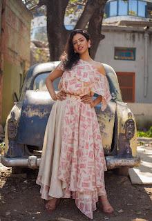 Adorable actress Sana Khan wearing 'Althea Krishna' outfit  in Mumbai