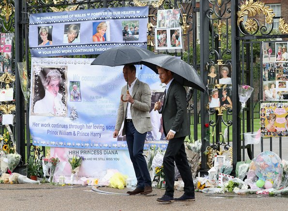 Princes William and Prince Harry. Princess Diana of Wales. On the 20th anniversary of Princess Diana's death. Kate Middleton