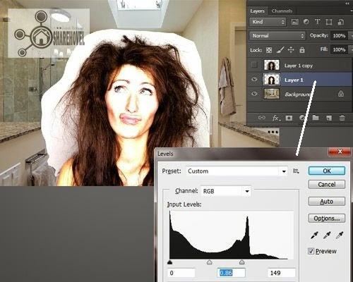 Atur Level Adjustment Layer 1 - Teknik Seleksi Rambut Di Photoshop Menggunakan Blend Mode