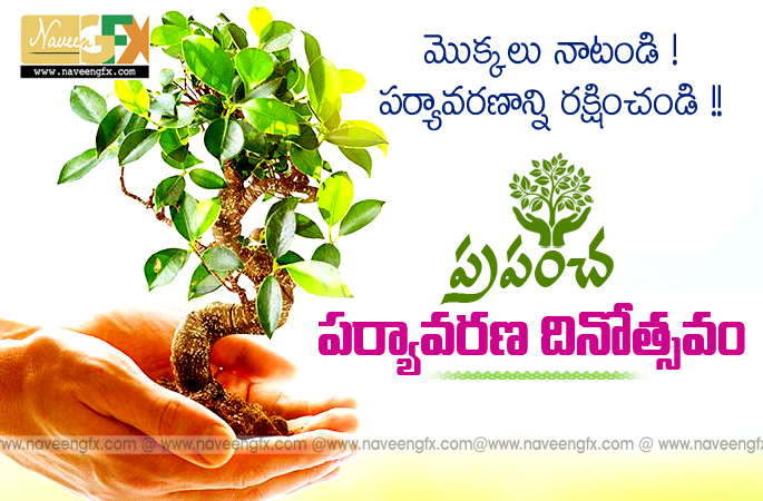 world environment day telugu slogans and wishes quotes | naveengfx