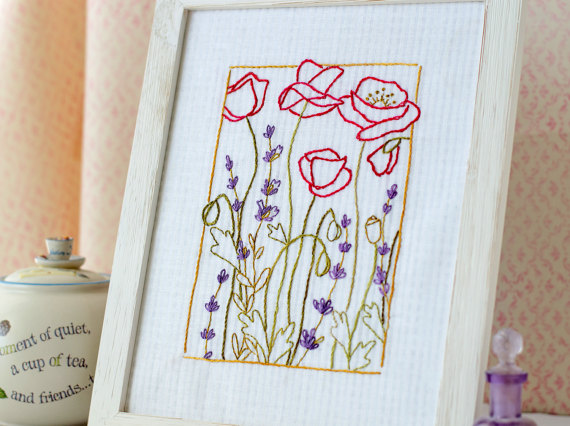 Lavender Poppy Hand Embroidery Pattern