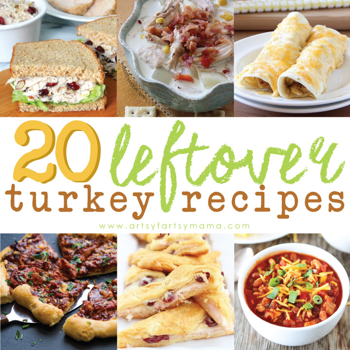 20 Leftover Turkey Recipes at artsyfartsymama.com