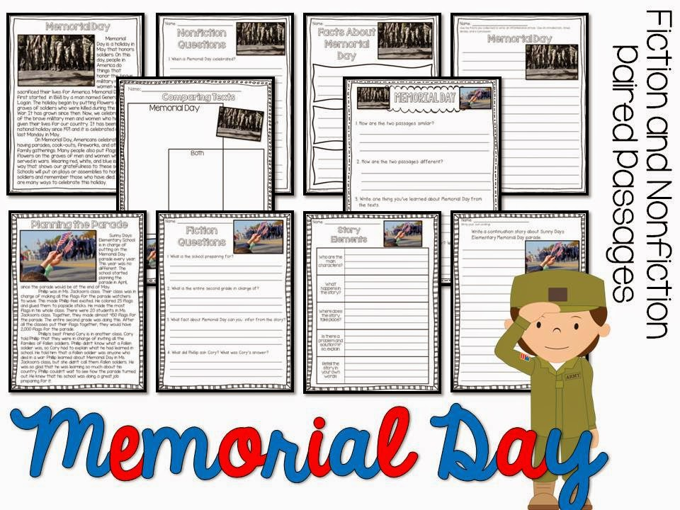 May fiction and nonfiction paired texts- all about Memorial Day- paired passages with 5 themes for May