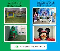 foto de brinquedos infláveis e uma decoração de festa infantil em fortaleza