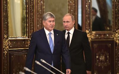 Vladimir Putin and Almazbek Atambayev in Moscow.