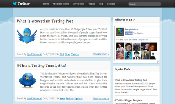 Twitter blogger theme screenshot