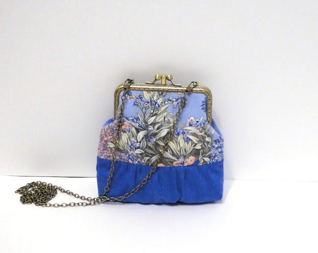 Синяя сумочка через плечо Двойной фермуар, натуральный хлопок. Полностью на подкладке.