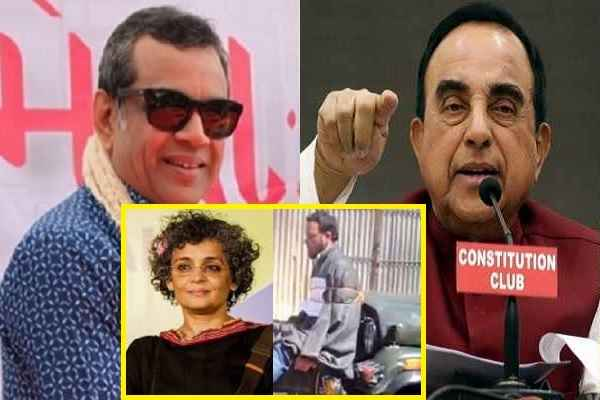 swamy-support-paresh-rawal-arundhati-roy-should-tied-on-jeep