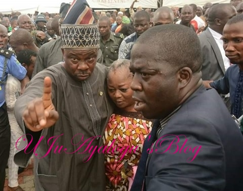 IN PICTURES: Gov Amosun fights mob at Adeleke's burial, saves female politician from lynching