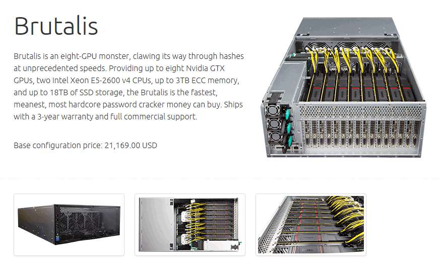 Tietokonerunko, jossa on kahdeksan näytönohjainta rinta rinnan.