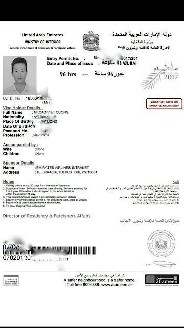 TỰ TÚC XIN VISA DUBAI ONLINE