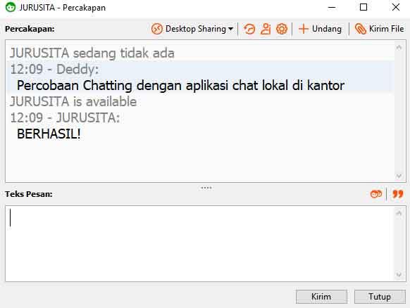contoh chatting lan di realpopup