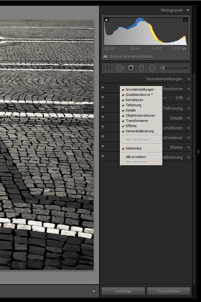 Der Solomodus bei Adobe Lightroom - ein nützliches Hilfsmittel
