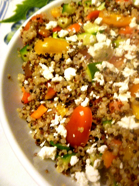 Mediterranean Quinoa Salad has hearty grains that is combined with veggies for a fresh and light side dish with a lemony twist.  Slice of Southern