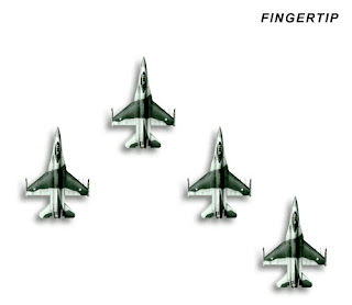 Four F-16s doing the Finger-four formation