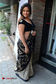 Actress Neetu Chandra Stills in Black Saree at Designer Sandhya Singh's Store Launch  0037.jpg