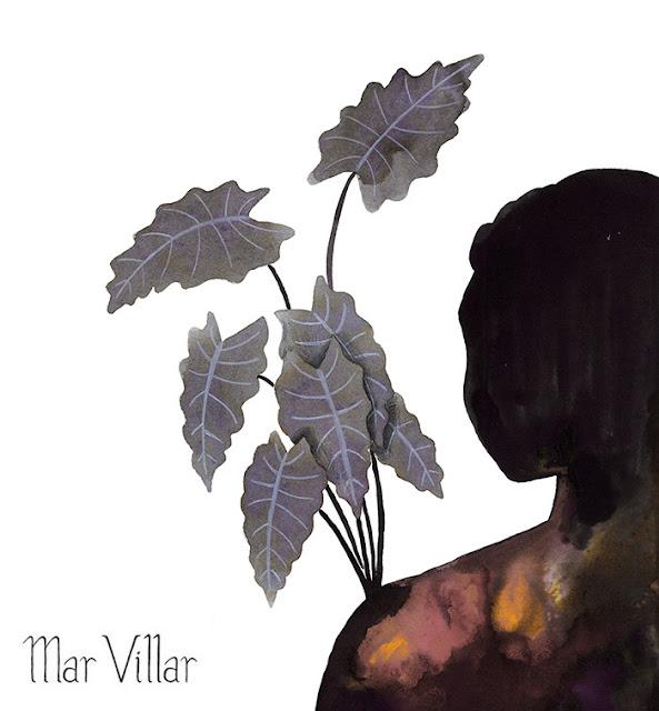 Inktober, Inktober 2016, plantas, alocasia, hombro, ilustración a tinta, silueta humana, tinta, aguada de tinta, quink, tinta parker
